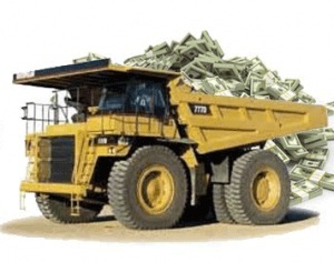 Image result for dump truck full of money